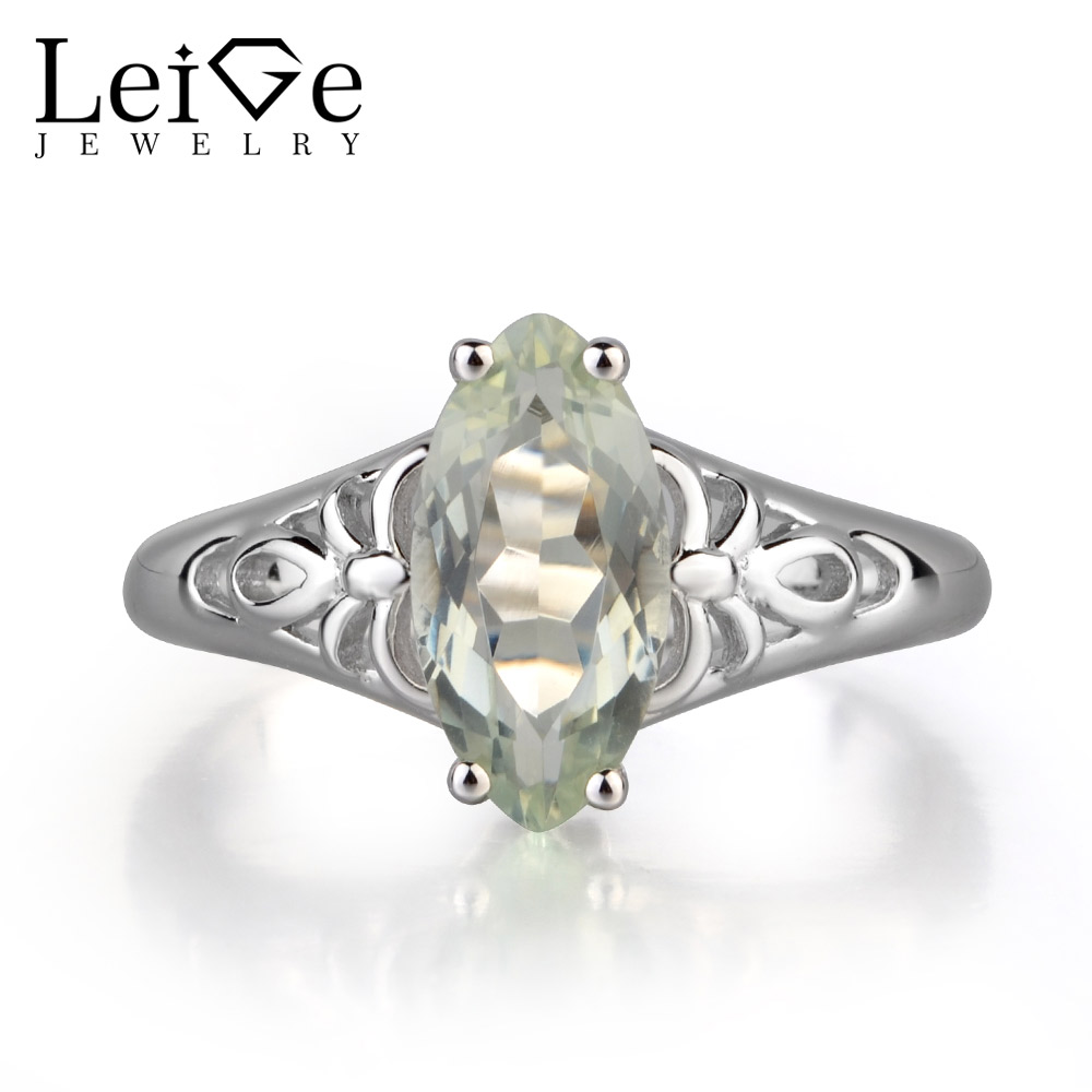 Leige Jewelry Natural Green Amethyst Gemstone Marquise Shape Solitaire Rings For Woman Engagement Romantic Gifts For Girls Leige Jewelry Natural Green Amethyst Gemstone Marquise Shape Solitaire Rings For Woman Engagement Romantic Gifts For Girls