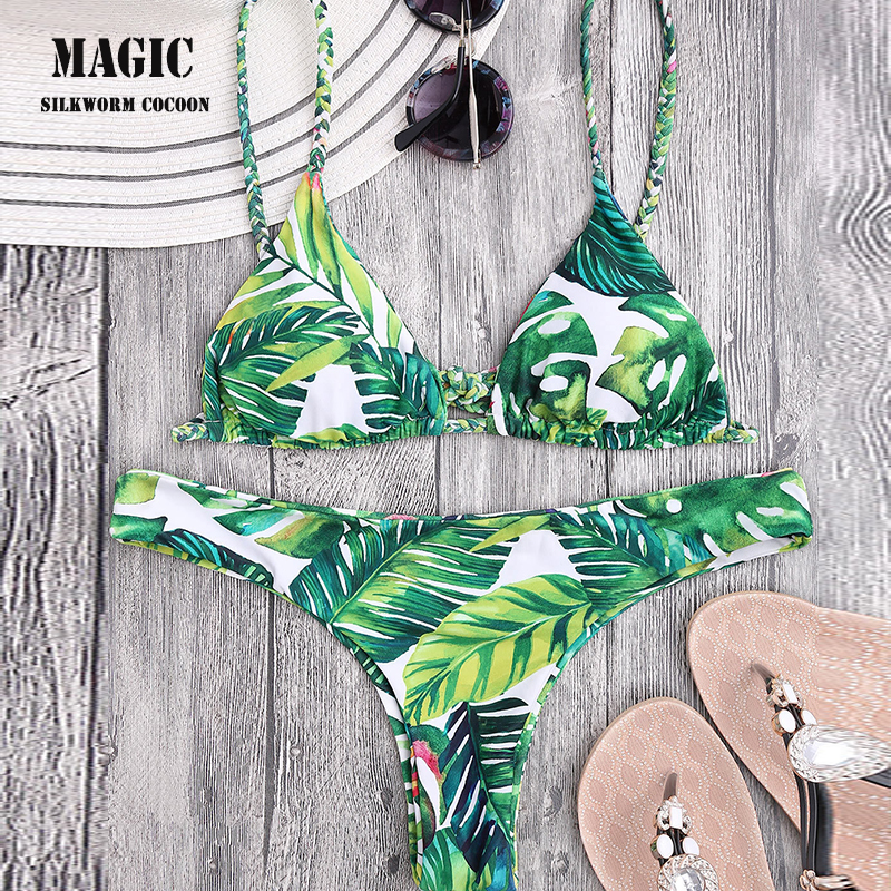 Green Leaf Double-sided Print Bikini Set Women Sexy Braided Rope Bandage Swimwear Maillot De Bain Biquini Beach Swimsuit Bathing