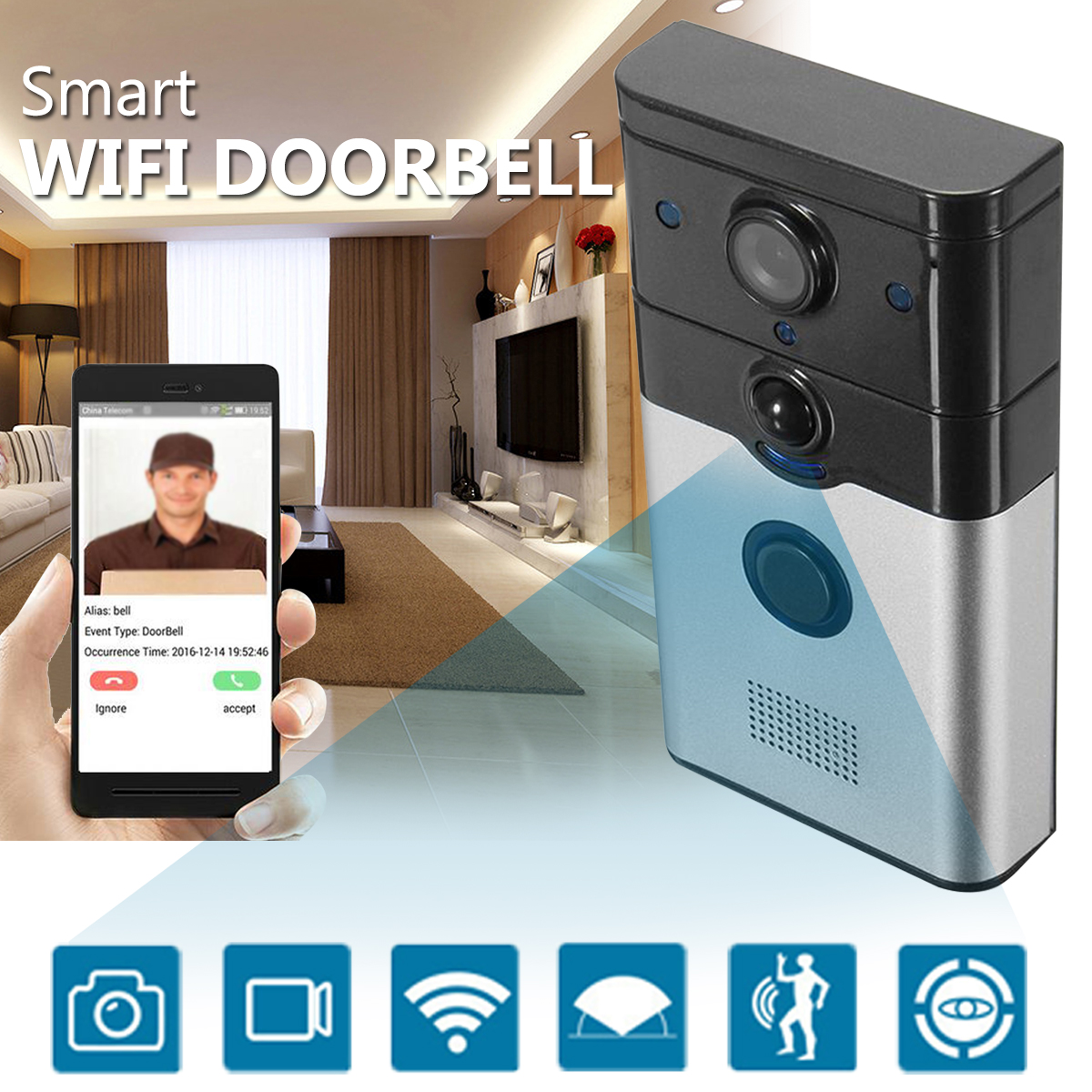 Intelligent Remote Control Wifi Doorbell C amera Black AC100-230V P2P Cloud Record Alarm Two-way Voice 8 Users Smart Safe Home safe c