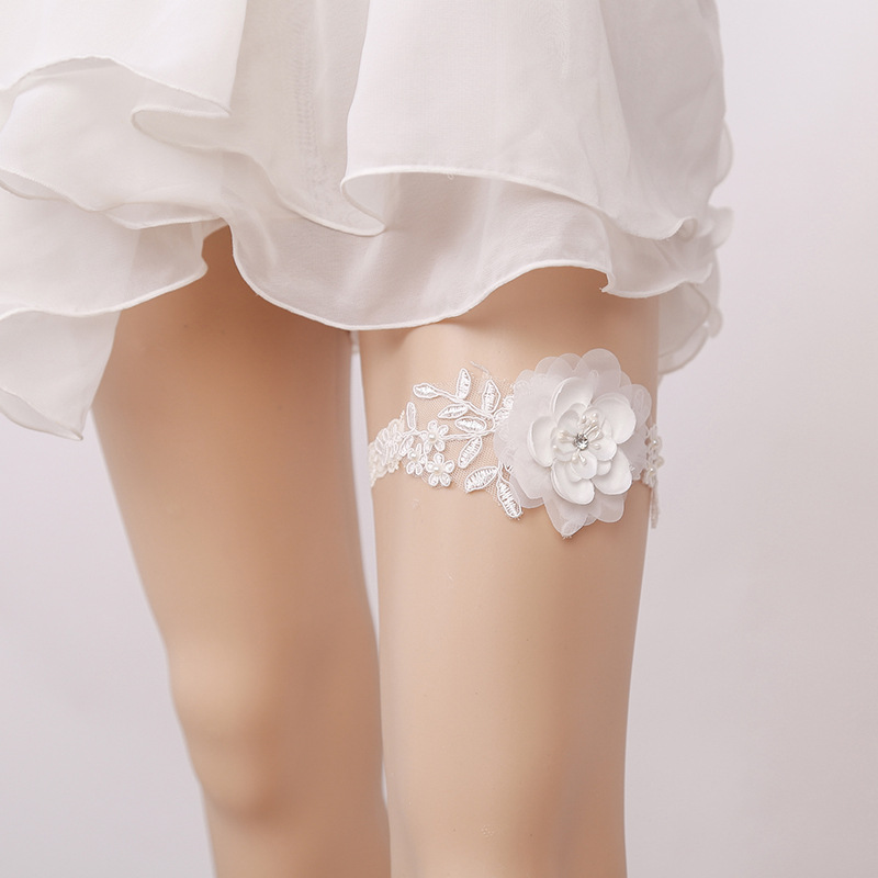 Whole Women Wedding Garter For Bride Hand Made White Color Flower Leg Thigh Belt Las In Garters From S Clothing