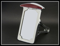 Chrome Side Mount Vertical License Plate Tail brake light for Harley Softail Tag