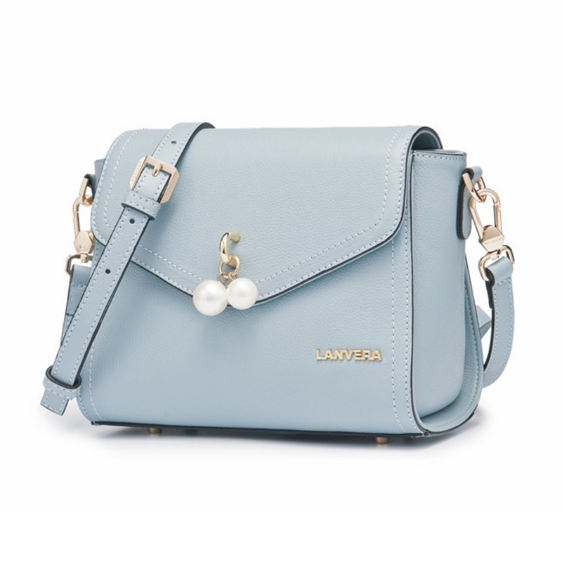 Messenger Bags Women Genuine Leather Fashion Small Fresh Students Girls Shoulder Bags Candy Color Lady Bag with Bead Pendant