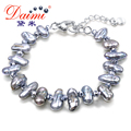 DAIMI 2017 New 7-8mm Freshwater Baroque Pearl Bracelet  Brand Fine Jewelry For Women Pearl Jewelry Gift.