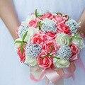 Невеста с цветами в руках, новое поступление Романтическая Свадьба Красочные Невеста 'ы Букет, красный розовый синий и фиолетовый свадебные букеты \ фиолетовый