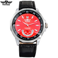 Kazanan marka erkekler erkek sıcak Mekanik İskelet otomatik moda elbise saatler oto tarihi PU deri bant kırmızı dial çift el