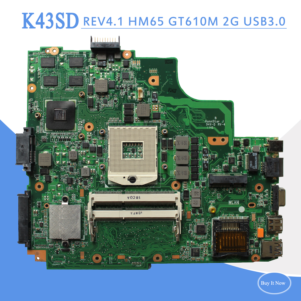 K43SD REV4.1 mainboard For Asus K43SD A43S K43S Laptop motherboard GT610M 2G REV:4.1 DDR3 USB3.0 mainboard fully tested