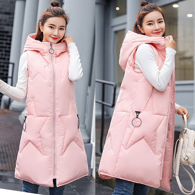Useful Winter Women Cotton Vest Casual Solid Long Hooded Waistcoat Zipper Pocket Thick Warm Sleeveless Sintepon Parkas Vest For Female