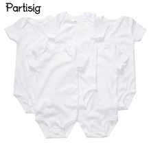 Baby Clothes Plain White Short Sleeve Cotton Rompers Summer