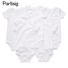 Baby Clothes Plain White Short Sleeve Cotton Rompers Summer Clothing For Newborns Infantil Overall(China)