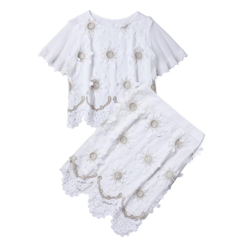 Pièces Costume Chemisier Jupe Tops Deux Genou Longueur De Haute Évider Vêtements Qualité black Ensemble En Dentelle Crayon Broderie Femmes White dwqqgx7W