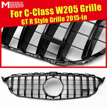 Fits For W205 Front Grille GTS Style without Camera Hole C-Class C180 C200 C250 ABS Gloss Black Sport Bumper 2015+