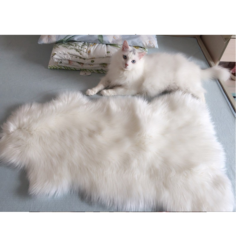 Long Faux Fur High Density Artificial Sheepskin Fluffy Chair Seat Sofa Cover Carpet Mat Area Rug Bedroom Home Decoration White