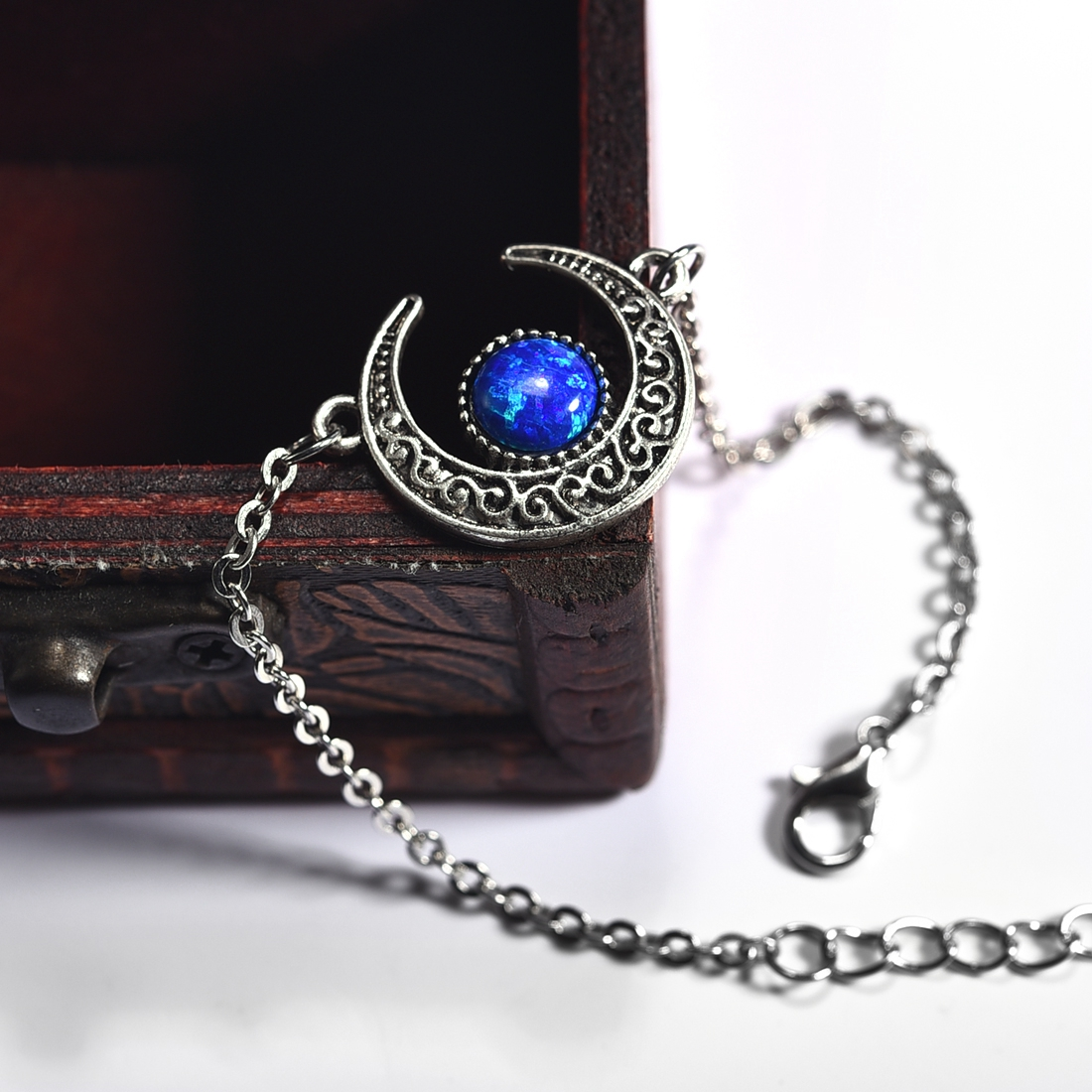Creative Synthetic Opal Vintage Tribal Crescent Pendant Sliver Plate Bracelet & Bangle Moon For Women Jewelry