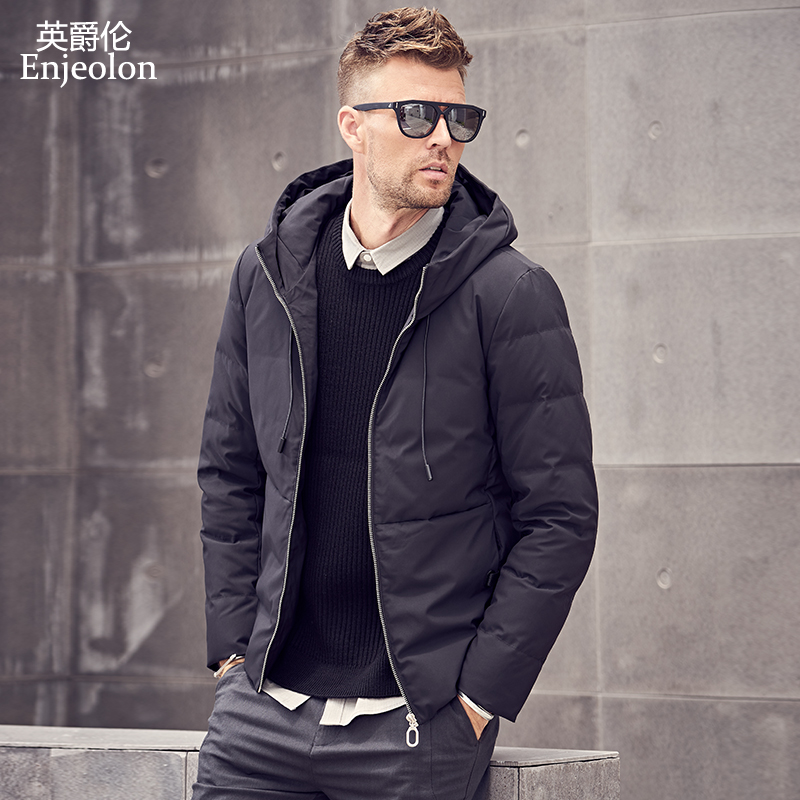 Enjeolon Brand Thicken Winter Down Hooded Jacket Men Light Down Coat For Men Hoodies Parka Coat 3XL Down Parka Male YR918