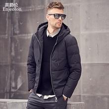 Enjeolon Brand Thicken Winter Down Hooded Jacket Men Light Down