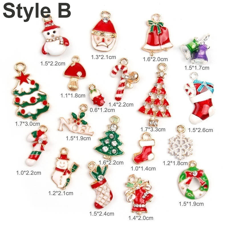 15 x Tibetan Silver Mixed Christmas Pendant Charms Xmas Santa Snowman