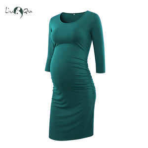 Image 2 - Pack of 3pcs Side Ruched Maternity Dresses 3 quarter Sleeve Bodycon Pregnancy Dress Wrap Maternity Dresses for Photo Shoot