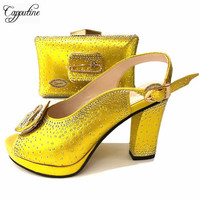New Arrival Nigeria Woman Yellow Shoes And Matching Bag Set Fashionale PU Leather Woman Heels Shoes And Bag Set For Party TX 648