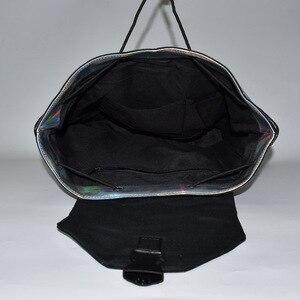 Image 5 - 패션 여성 drawstring 배낭 기하학 여성 배낭 십 대 소녀 bagpack 홀로그램 숙 녀 바오 학교 가방 sac