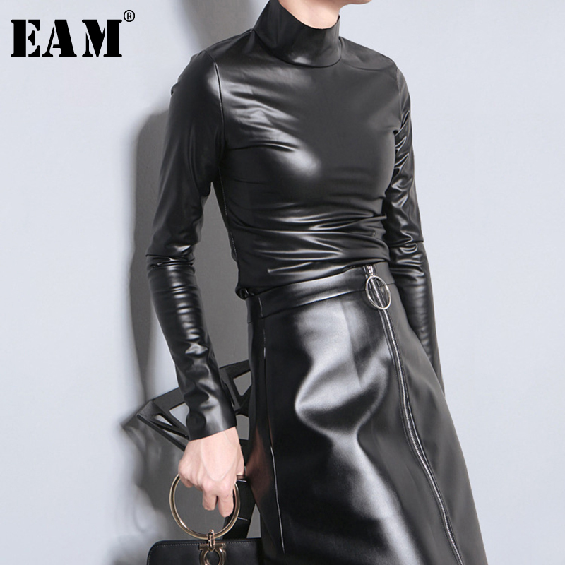[EAM] 2020 New Spring Autumn PU Leather Turtleneck Long Sleeve Simple Temperament T-shirt Women Fashion Tide All-match JY933