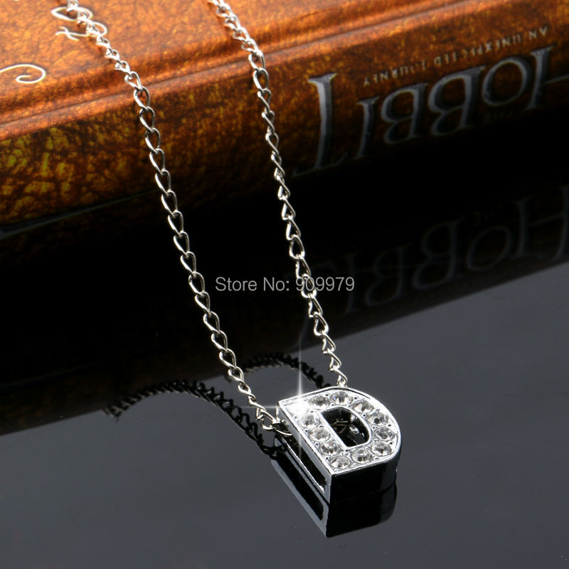 Letter D Crystal Pendant Necklace Gifts Family Charm Chain Jewelry Women Men Necklaces Silver In Chain Necklaces From Jewelry Accessories On