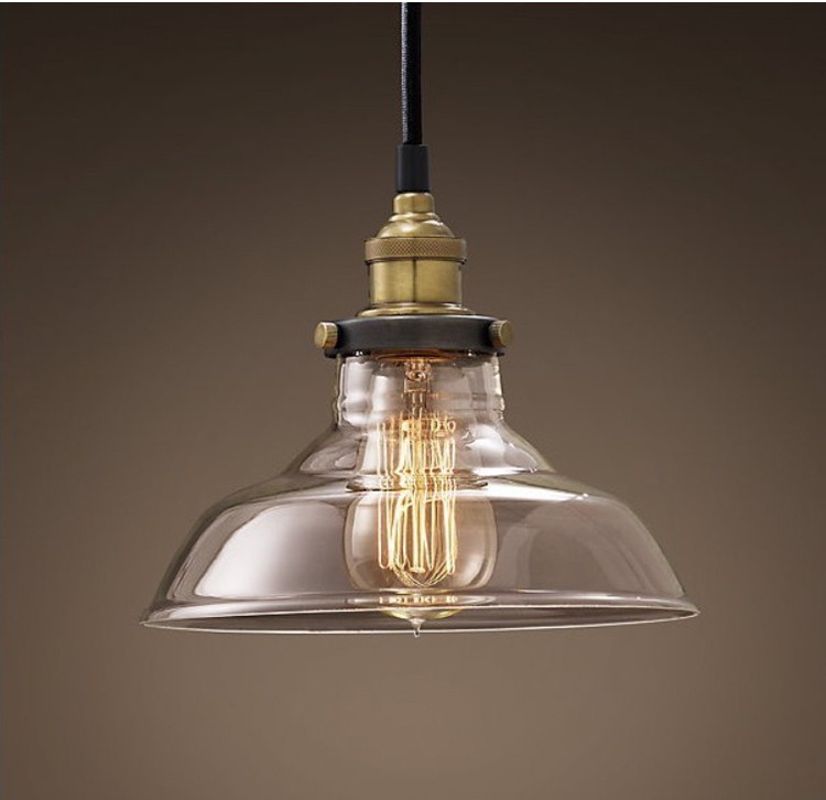 Industrial Edison Vintage Style 1-Light Pendant ClearGlass Hanging Light Ceiling Lamp Droplight Hall Cafe Bar Club rh loft edison industrial vintage style 1 light tea glass pendant ceiling lamp hotel hallway store club cafe beside
