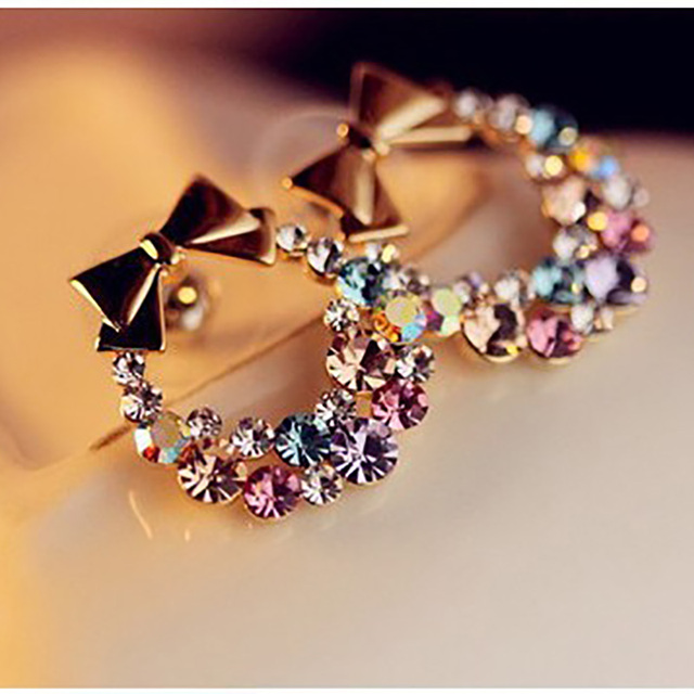 Women Imitation Colorful Rhinestone Bowknot Stud Earrings Gold Crystal  Cubic Zirconia Bow Earring Female Fashion Vintage Jewelry 15d91e890490