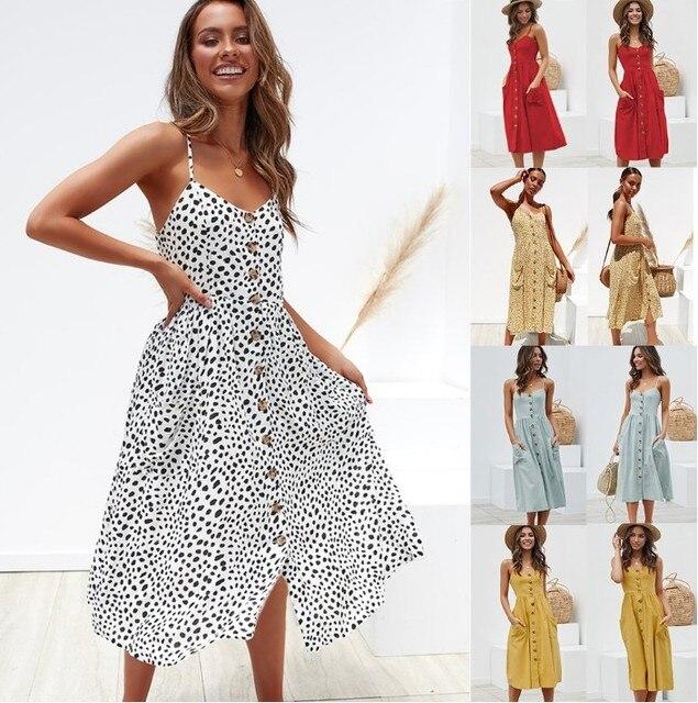 Elegante botón mujeres vestido lunares rojo algodón Midi vestido 2019 verano Casual Mujer talla grande señora playa vestidos