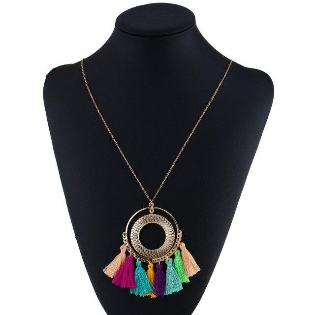 شرابة قلادة المرأة قلادة طويلة بوهو البوهيمي إكسسوارات عقد الملونة خمر العرقية نمط الشرير مجوهرات الأزياء