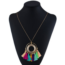 LZHLQ Tassel Necklace Women Long Boho Bohemian Accessories Colorful Vintage Ethnic Punk Style Fashion Jewelry