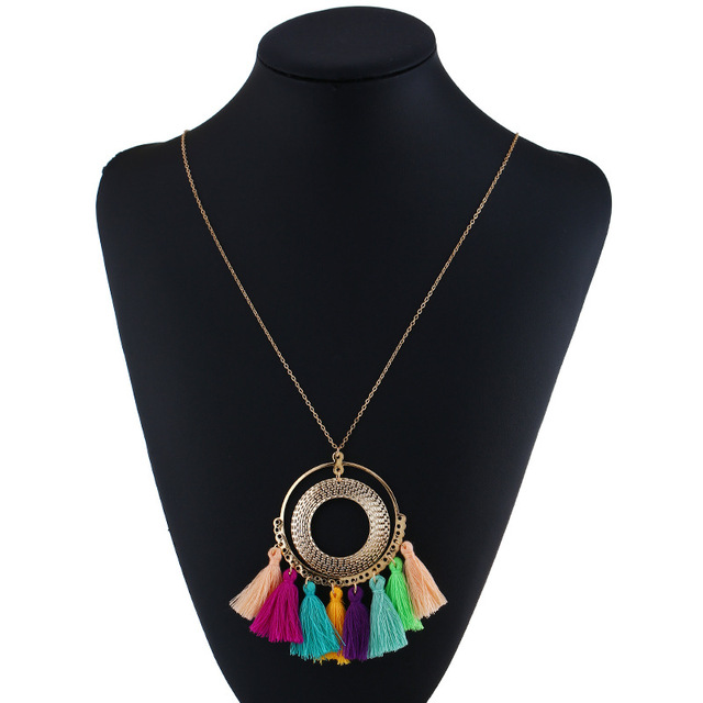 Tassel Necklace Women Long Necklace Boho Bohemian Necklace Accessories Colorful Vintage Ethnic Punk Style Fashion Jewelry