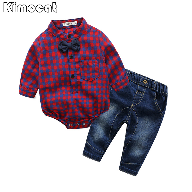 Infant Newborn Baby Boy Boy Clothes Long SleeveB Gentleman Rompers +pants Suit Kids Boy Clothing Set kids clothes 23