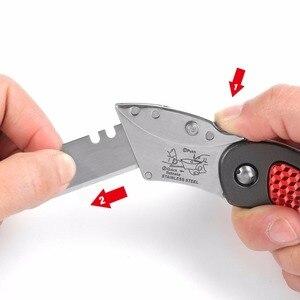 Image 4 - WORKPRO 3PC Mini Knives Utility Knife Aluminum Handle Folding Knife with 10pc Extra Blades