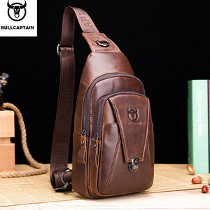 Image 1 - BULL CAPTAIN Quality Men Leather Crossbody Bags Cowhide Casual Riding Sling Shoulder Messenger Bag Chest Day Back Pack