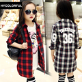 New 2017 Spring Girls Blouse Children Clothing Fashion Plaid Long Sleeve Child Shirts School Girl Blouse Kids Clothes Age 3-15Y