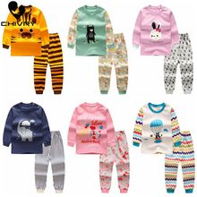 Chivry Cotton Kids Boys Pajama Sets Cartoon Print Long Sleev