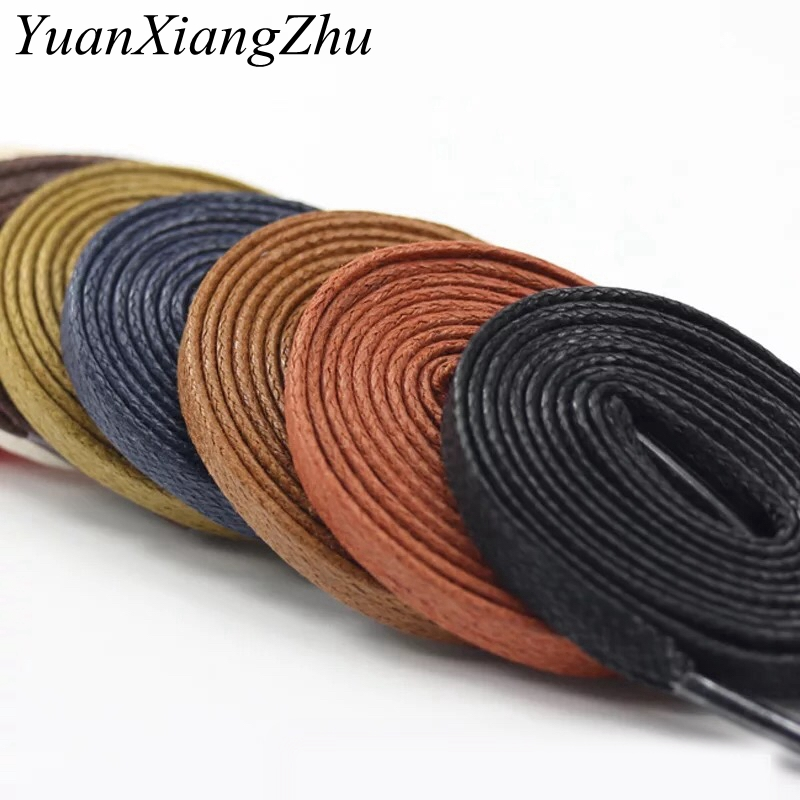 1Pair Waxed Shoelaces Flat Waterproof Leather Shoe Laces Kids Adult Boots Shoelace Length 60 80 100 120 140 160 180CM P3