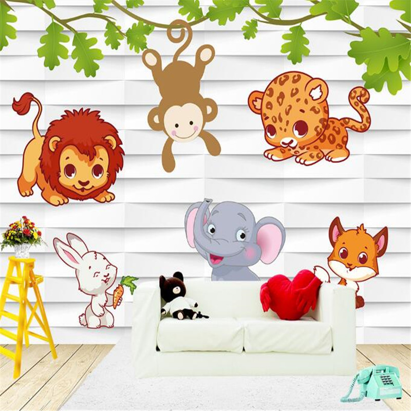 Cartoon Wallpapers Animal Mural Wallpaper for Kids Room Custom Wall Papers Home Decor Cute Leaf Photo Wallpapers for Living Room milan classical wall papers home decor non woven wallpaper roll embossed simple light color living room wallpapers wall mural
