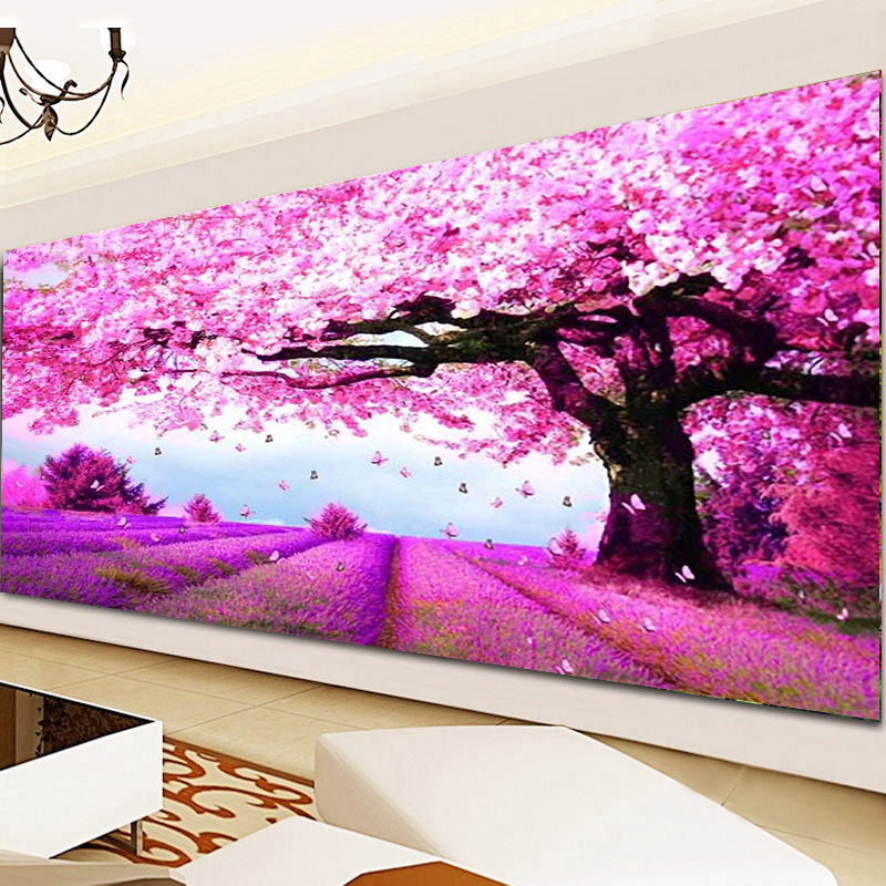 DIY 5D Diamond Mosaic Landscapes Purple Lavender Cherry Tree Painting Cross Stitch Kits Diamonds Embroidery Home