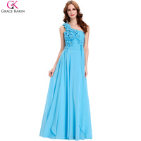 Grace Karin Long Cheap Bridesmaid Dresses 2017 Light Blue One Shoulder Floral Beaded Chiffon Bridesmaid Wedding Party Prom Dress