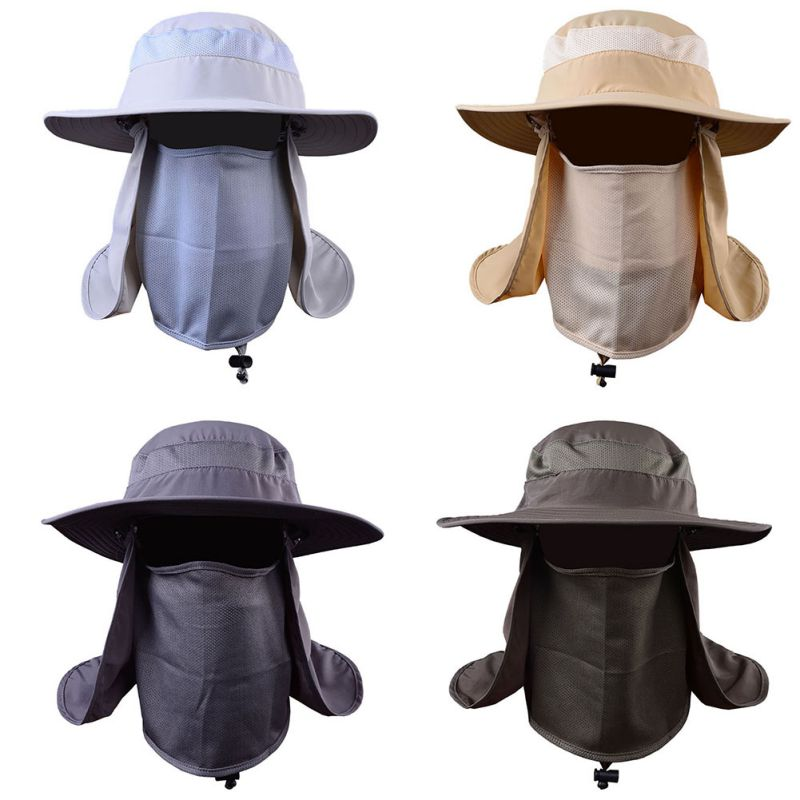 c0bf0802 Outdoor Hiking Sunblock Camping UV Protection Face Neck Cover Fishing Cap  Visor Hat Neck Face Flap Hat Wide Brim Buckle -in Fishing Caps from Sports  ...