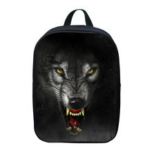 2017 Small Bookbag Oxford 12 Inches Printing Animal Black Wolf Children School Bags for Baby Girls Backpacks for Kids Schoolbag(China)