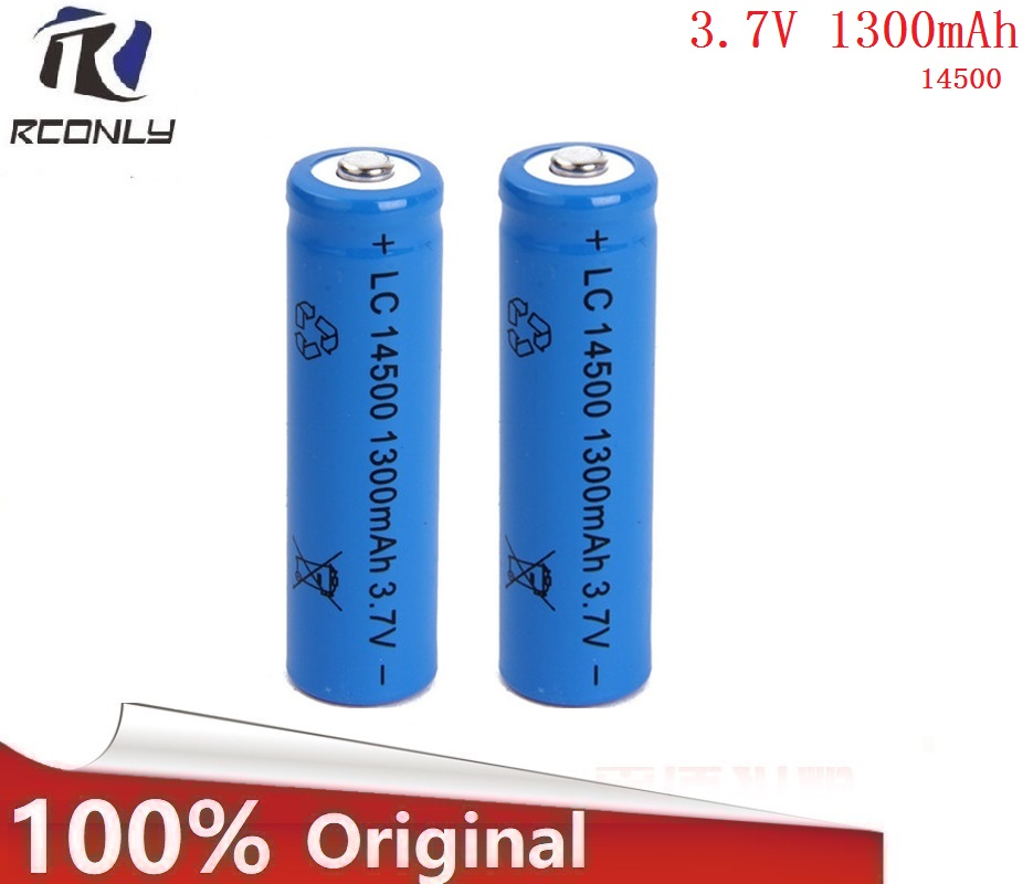 Superior Quality 14500 battery 3.7V 1300mAh rechargeable li-ion battery for Led flashlight batery litio battery Newest 1pcs