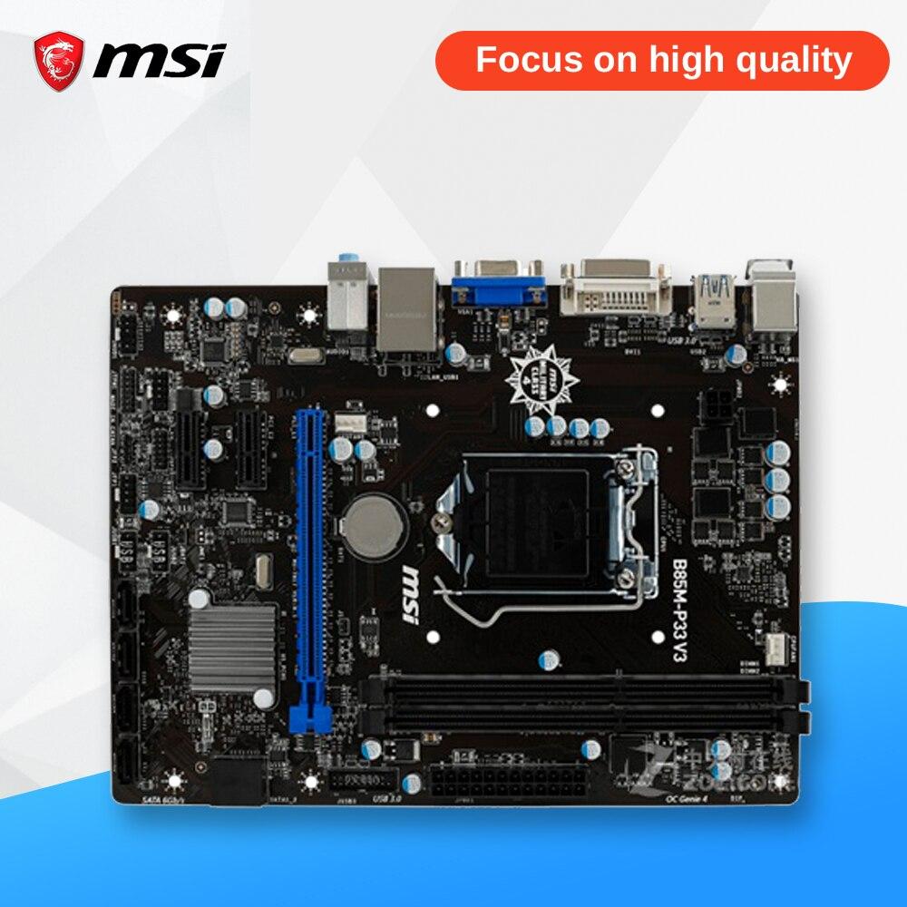 MSI B85M-P33 V3 Desktop Motherboard B85 Socket LGA 1150 i3 i5 i7 DDR3 16G SATA3 USB3.0 Micro-ATX asus b85m v5 plus desktop motherboard b85 socket lga 1150 i7 i5 i3 ddr3 16g sata3 micro atx