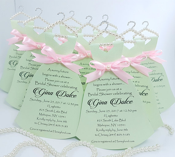 Personalized Mint Wedding Dress Invitations Will You Be My