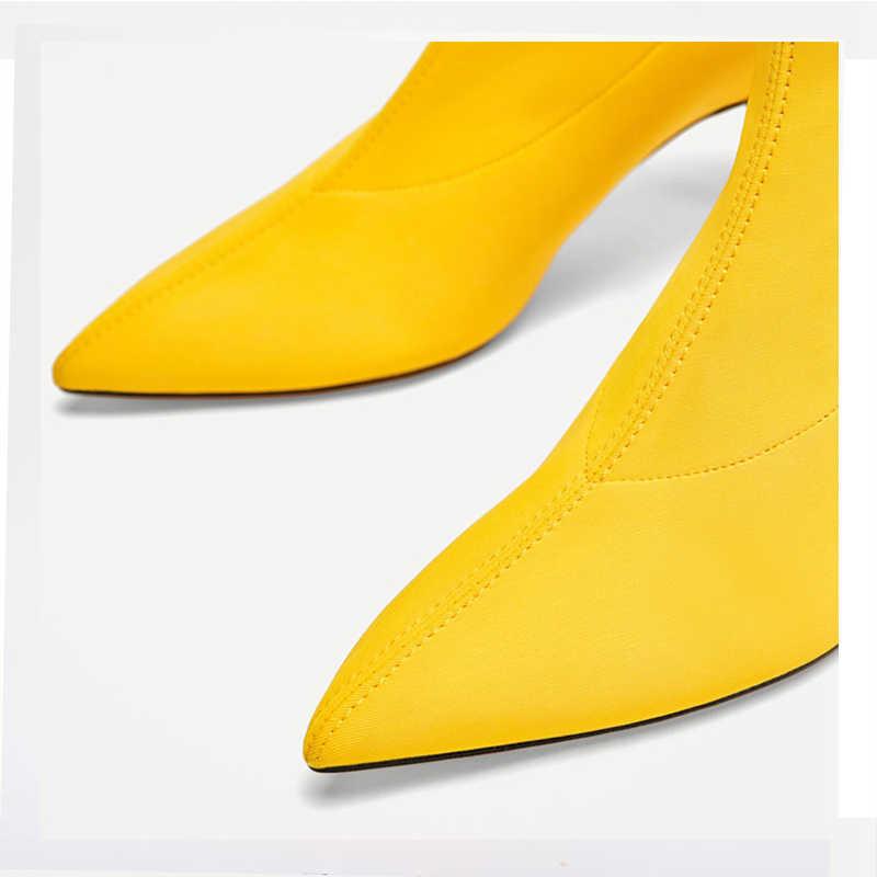 2018 ผู้หญิงฤดูใบไม้ร่วงถุงเท้ารองเท้ายืดลื่นบนผ้า 6.5 ซม. รองเท้าส้นสูงข้อเท้ารองเท้าบูทผู้หญิงปั๊ม Stiletto ผู้หญิงรองเท้า