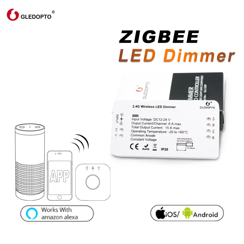 gledopto zigbee light link dimmer controller zll dc12 24v smart app control work with amazon