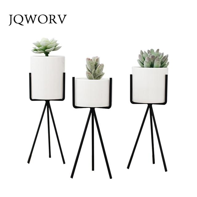 JQWORV Nordic style fleshy flowerpot wrought iron vase simple iron frame flower ceramic water pot green planter home decoration