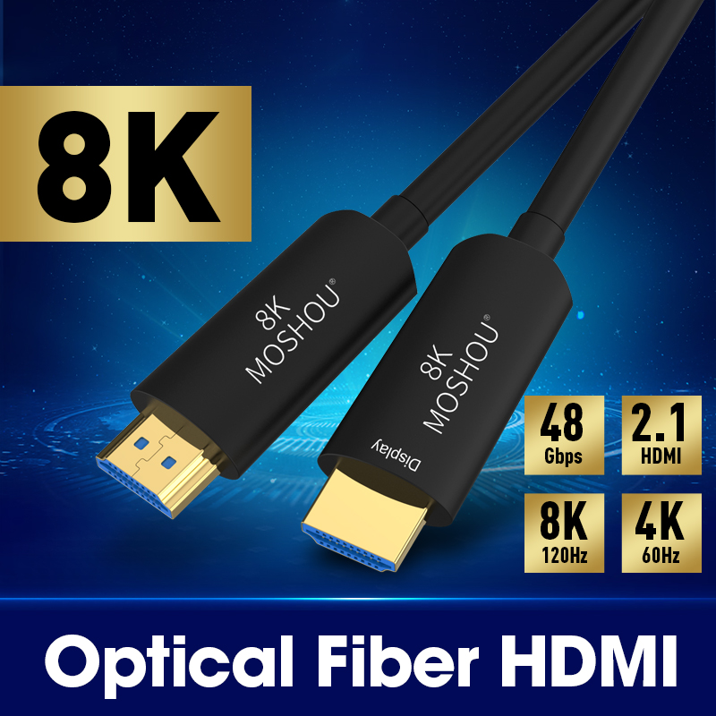 MOSHOU Optical Fiber <font><b>HDMI</b></font> <font><b>2.1</b></font> <font><b>Cable</b></font> Ultra-HD (UHD) 8K <font><b>Cable</b></font> 120GHz 48Gbs with Audio & Ethernet <font><b>HDMI</b></font> Cord HDR 4:4:4 Lossless Cabl image