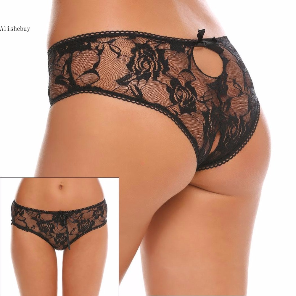 Buy Women Sexy Lingerie Bowknot Floral Briefs Hollow Lace G-string Open Crotch Briefs Panties Thongs Underwear Knickers LPK001295